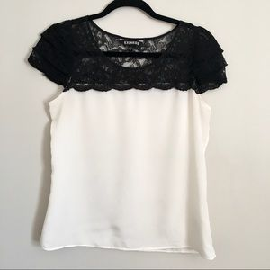 Express off white and black lace blouse size small
